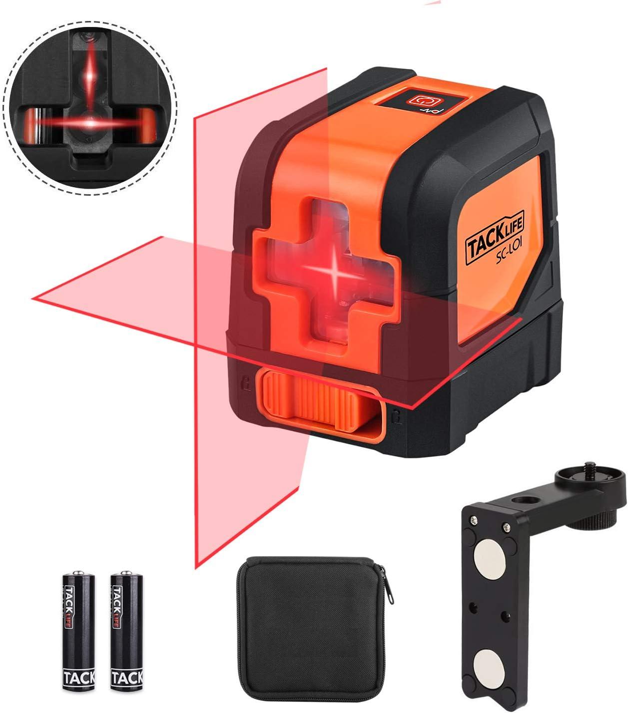 Nivel Láser Cruzado 15 M, Rotación de 360 grados, Automática Horizontal/Vertical, Láser con un Gran Angular de 110 °, Láser Brillante de Rojo, Soporte Giratorio Magnético, IP54, Tacklife SC-L01