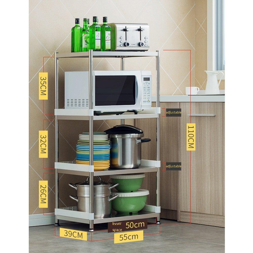 LXLAステンレス製キッチン用棚3段マイクロ波オーブン棚棚棚床用マルチ機能用品金属多層4層55/60/70 * 39 * 77/110/142 Cm ( 色 : 4-Tier , サイズ さいず : 55 cm 55 cm ) B07C1NP7M7 55 cm 55 cm|4-Tier 4-Tier 55 cm 55 cm