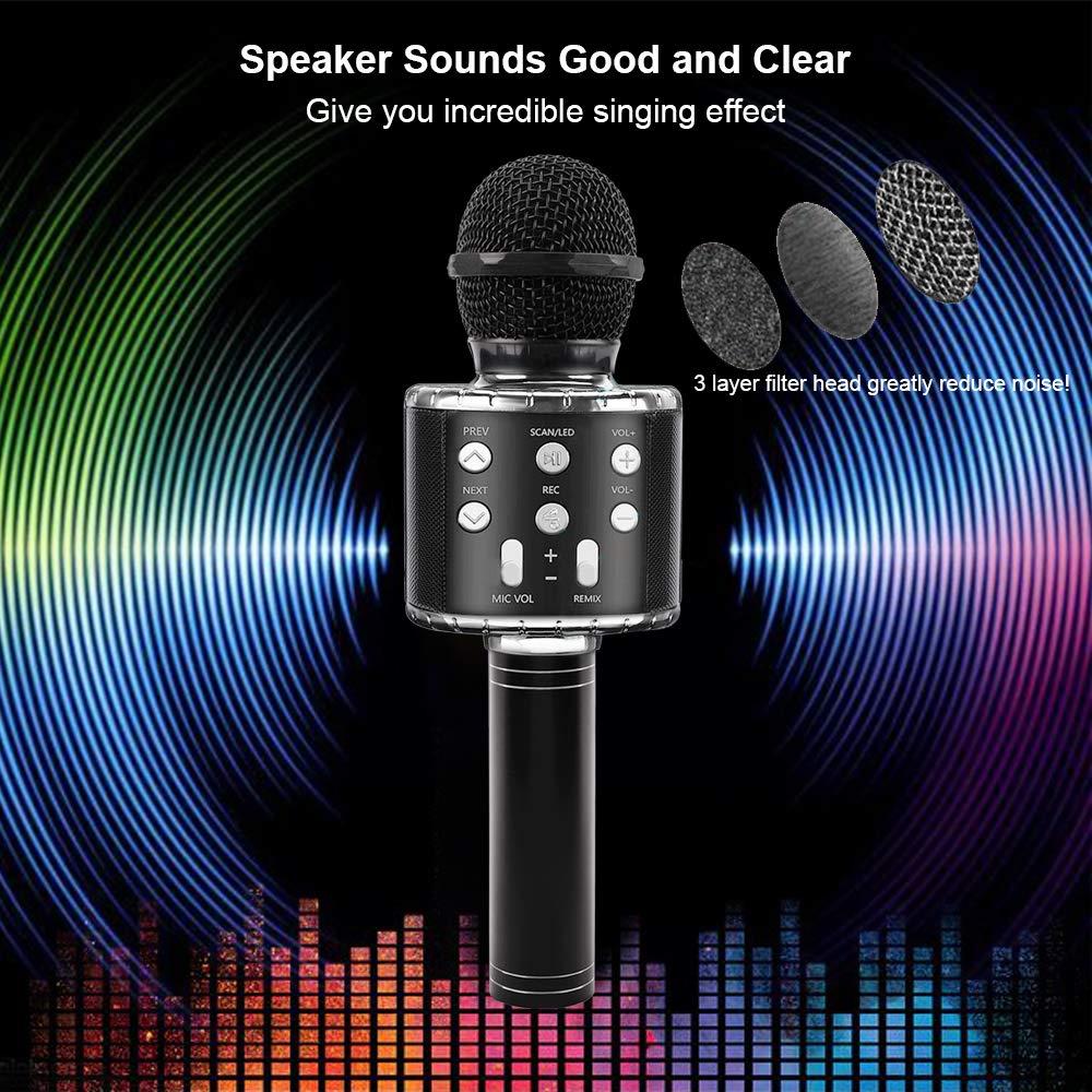 FREESOO Microphone Karaok/é sans Fil Bluetooth Haut-Parleur avec LED Lumi/ère Color/é Portable Karaok/é Microphone Compatible avec iOS//Android Smartphone PC Id/éal pour Bar Party F/ête KTV Enregistrement