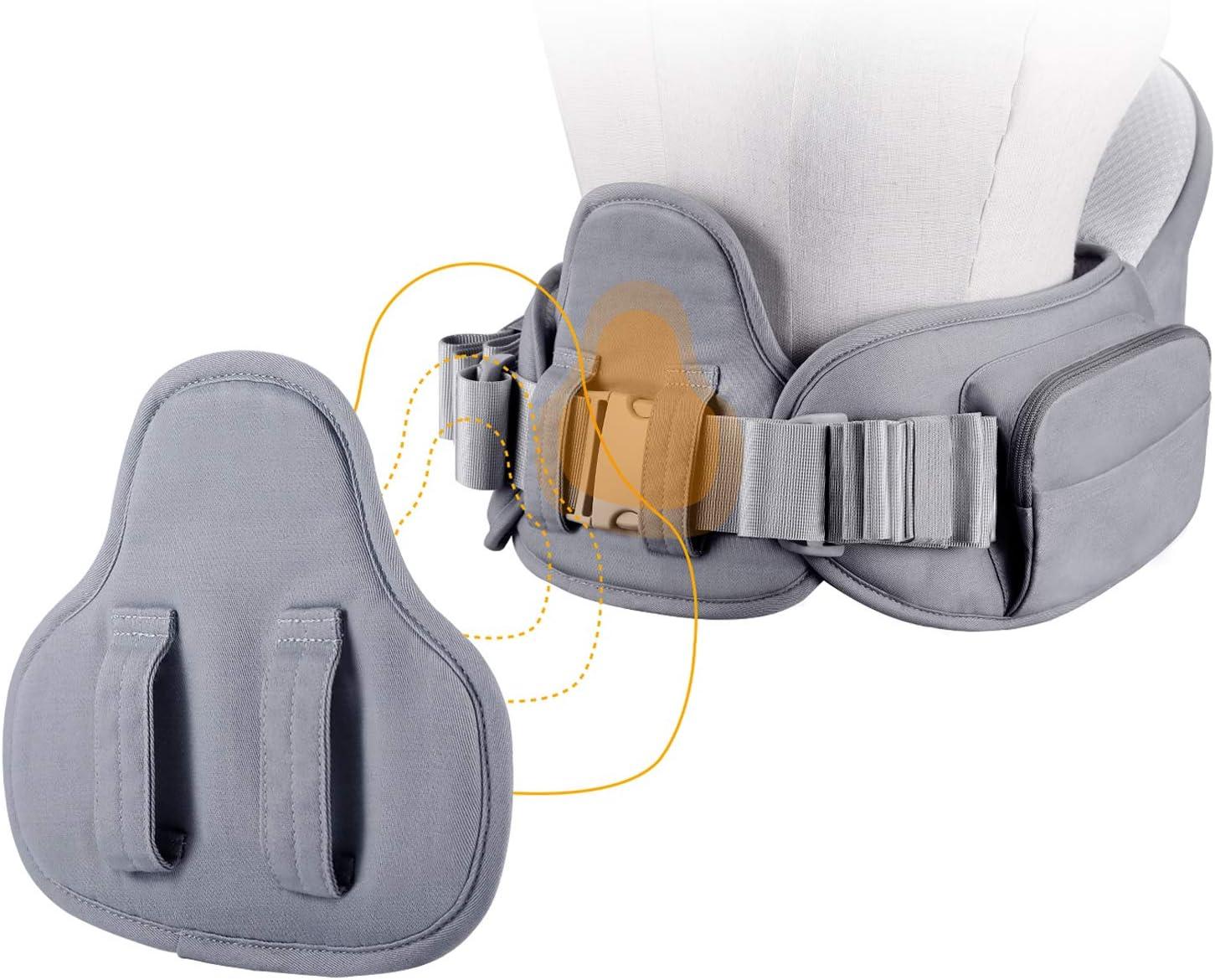 GAGAKU Porte-b/éb/é Si/ège de Hanche avec Double Ceinture /à Taille R/églable Ergonomique Ventral Tabouret 4 Positions pour B/éb/é 0-36 Mois