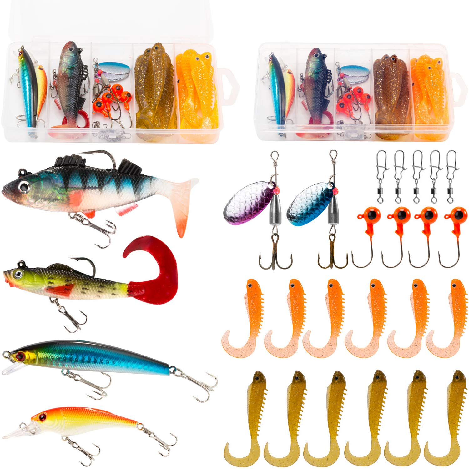 PLUSINNO Fishing Lures Tackle kit Set for Freshwater Saltwater, Including Soft Baits Lead Head, Crankbaits, Spinner Lures, Jig Heads, Plastic Worms with Tackle Box, 27pcs Fishing Gear Lure... by PLUSINNO