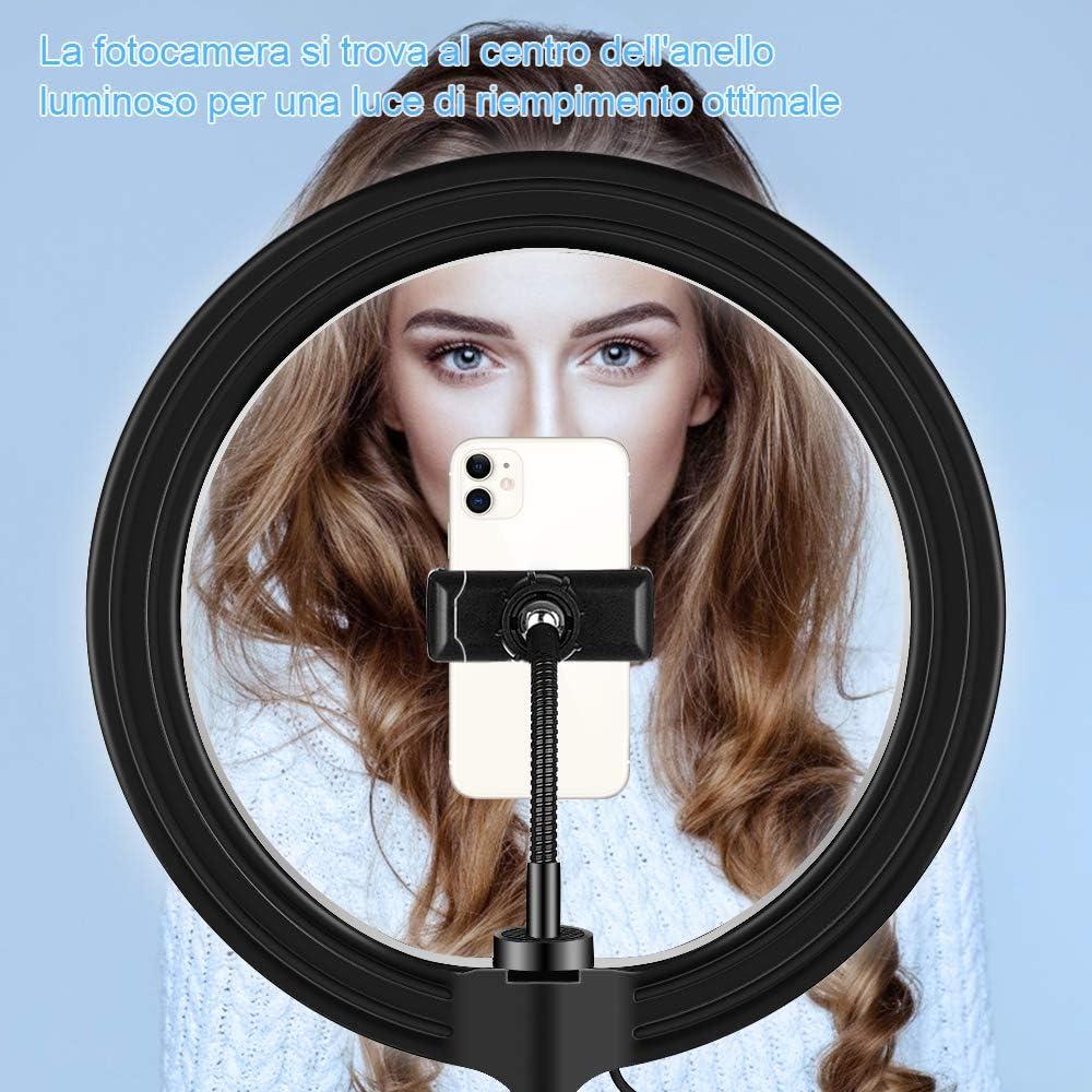 Diyife Ring Light Telecomando Beauty Ringlight Desktop con Supporto per Cellulare 3 modalit/à di Illuminazione E 10 Livelli di Luminosit/à per Il Trucco Vlog Streaming Live Versione pi/ù Recente