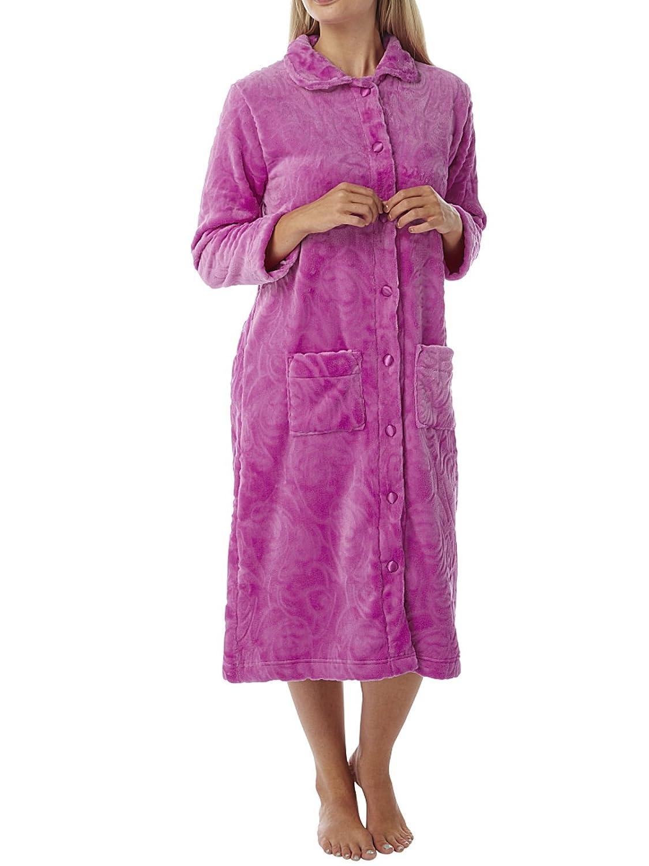 Ladies Embossed Fleece Button through Robe Aubergine or Fushia 10 16 20 24 26 Marsylka