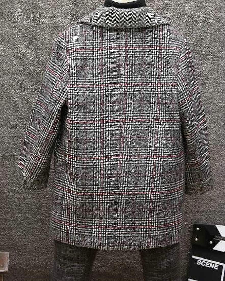 Cromoncent Boys Woolen Blend Warm Overcoat Plaid Coat Winter Jacket