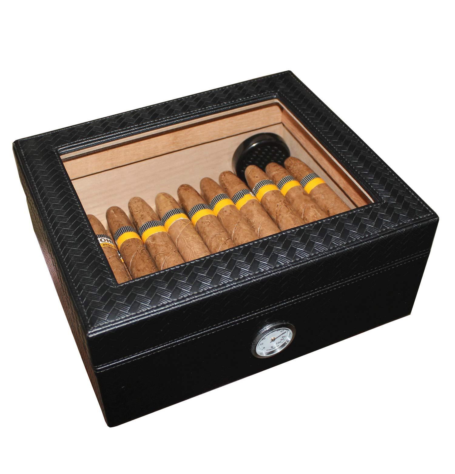 AMANCY Handmade Elegant Black Leather 25-50 Cigar Humidor,Desktop Cedar Wood Lined Cigar Box with Glasstop