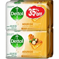 Dettol Nourish Anti-Bacterial Bar Soap 165g Pack Of 4 at 35% Off - Honey & Shea Butter