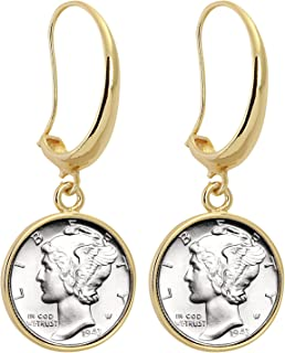 product image for Silver Mercury Dime Gold Tone Coin Earrings