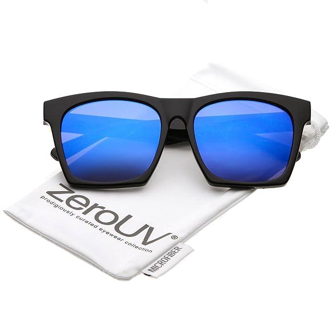 264dd01684e8c zeroUV - Modern Square Color Mirrored Flat Lens Horn Rimmed Sunglasses 54mm  (Black Blue