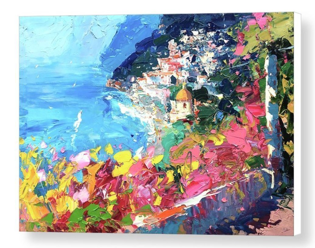 Positano Italy Prints Amalfi Coast Canvas Artwork Modern Seascape Wall Art Sea Home Decor Mediterranean Living Room Ideas Gifts for Him Her Christmas Present from Original Painting of Agostino Veroni