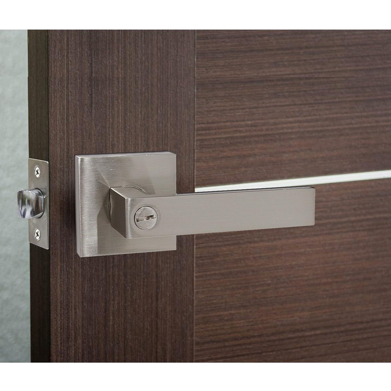 10 Pack Privacy Door Levers Keyless Door Lockset Handleset Right//Left Handed Reversible in Satin Nickel Door Lever//Handle Bed or Bath Hardware by Probrico Door Lever 12061