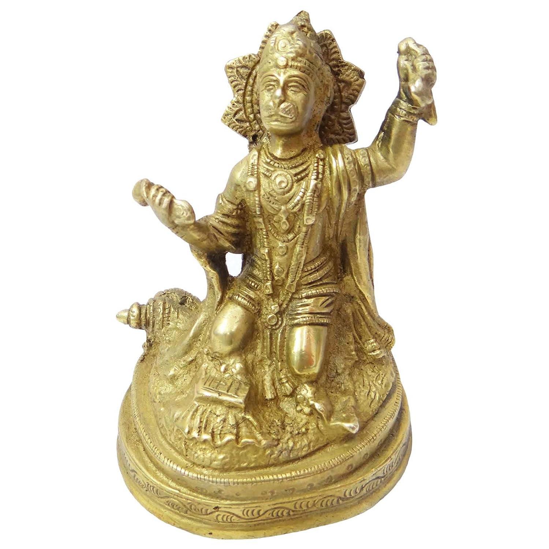 Lord Hanuman Religious ゴールドen Brass Statute Figurineデコレーションメタルアートインド