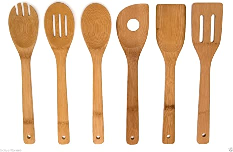 Details about  /6x//Set Bamboo Utensil Kitchen Wooden Cooking Tools Spoon Spatula Mixing New Flo2