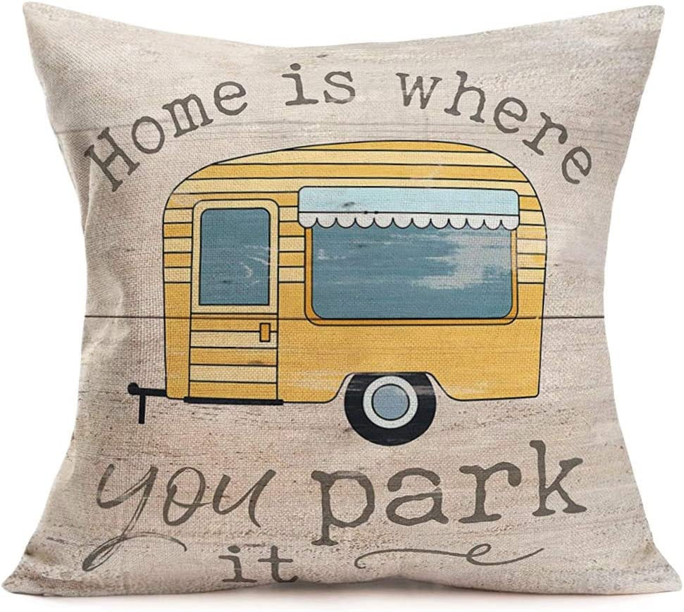 Fukeen Camping Throw Pillow Covers Home Decor Happy Camper Rv Car with Sweet Words Lettering Pillow Cases Cushion Cover 18x18 Inch Cotton Linen Pillow Shams Standard CamperGifts Women Men