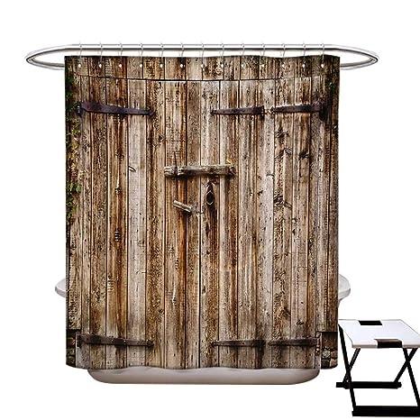 Amazon.com: Monocromo - Cortina de ducha rústica decorativa ...