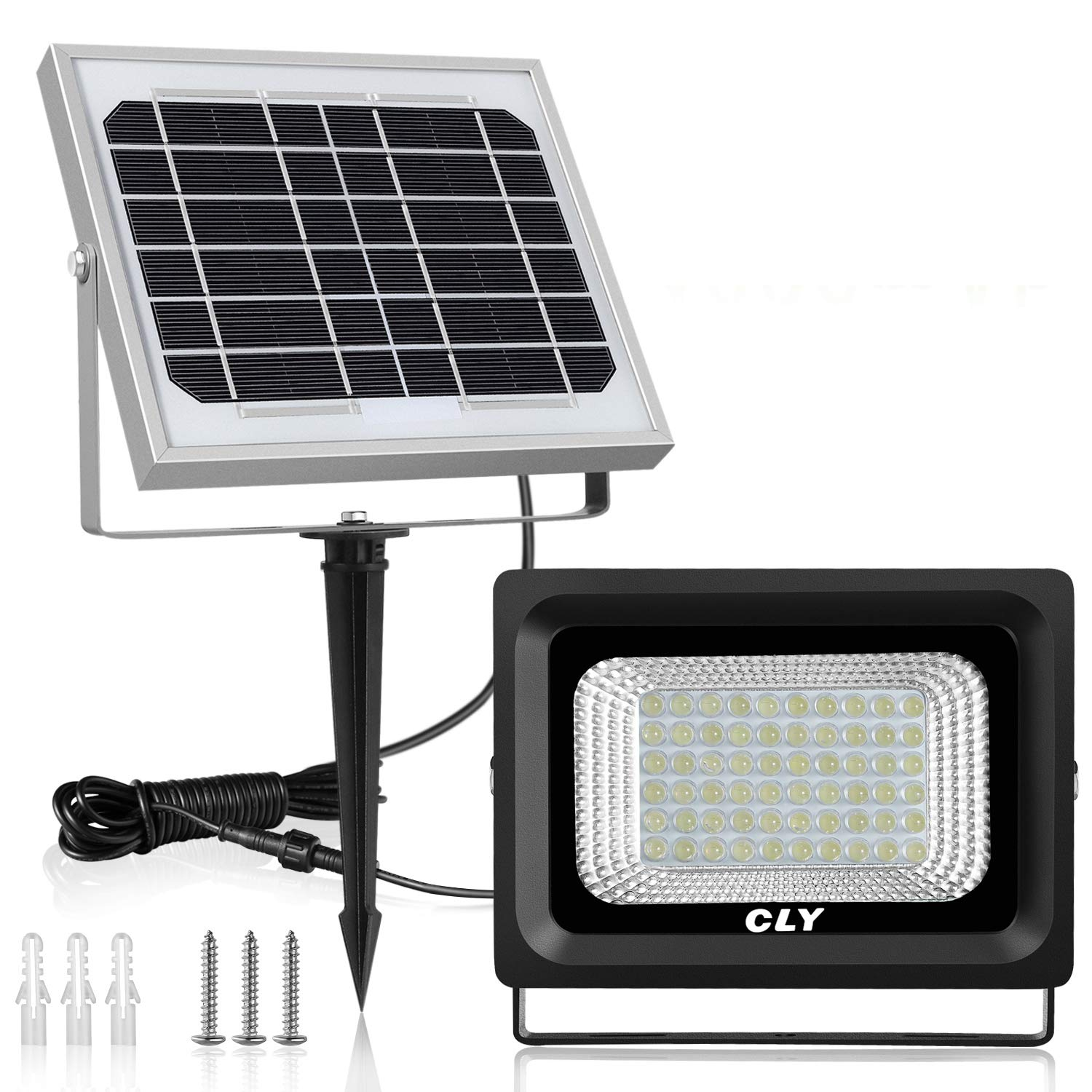 Solar Flood Light Outdoor 60 LED Security Lights IP66 Waterproof 300 Lumens Floodlights Auto-Induction Solar Power Bright Light for Lawn Backyard Garden (Daylight White)