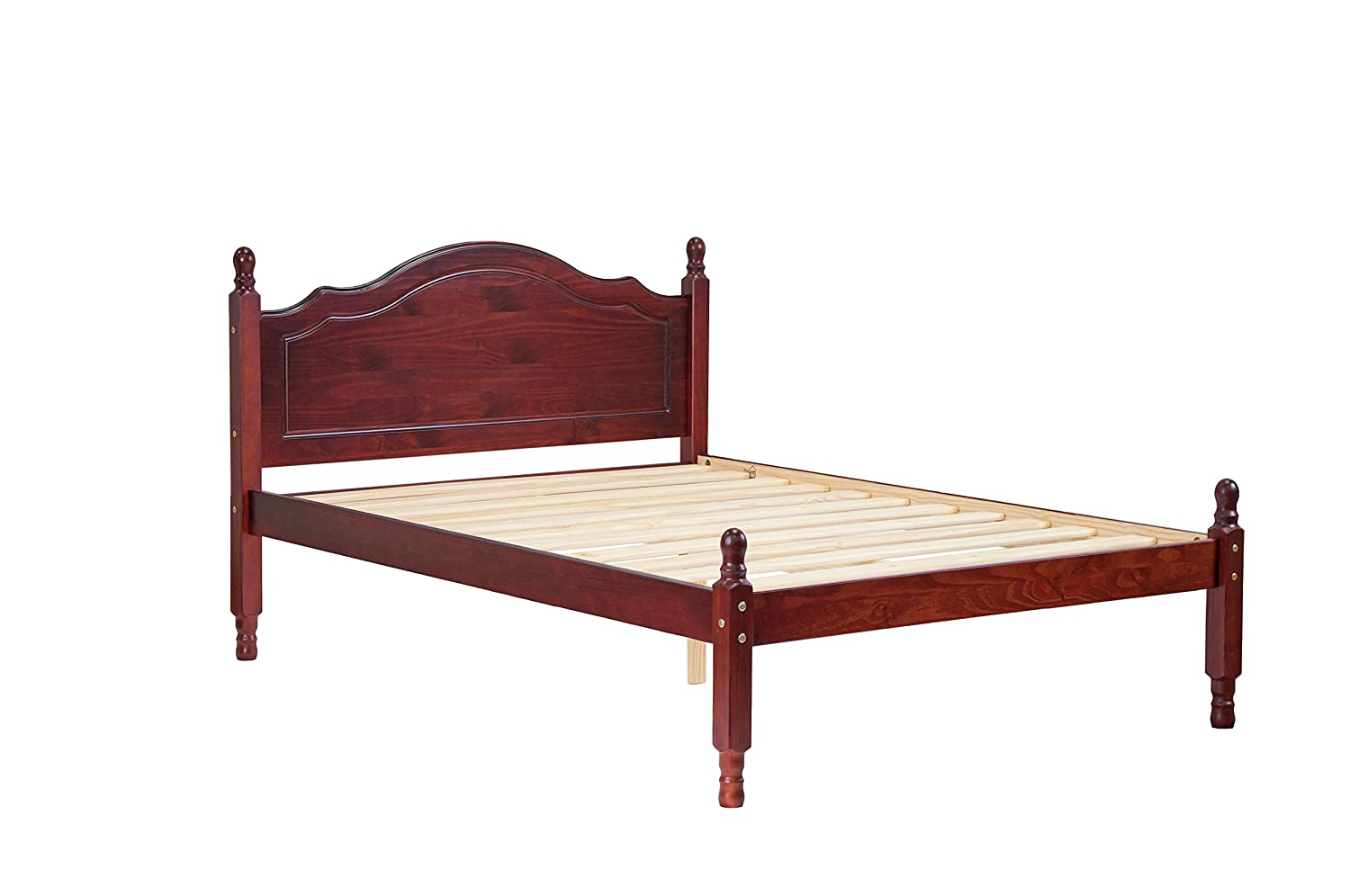 100 Solid Wood Reston Panel Headboard Platform Bed by Palace Imports, Full Size, Mahogany Color, 12 Slats Included. Optional Trundle, Drawers, Rail Guard Sold Separately. Requires Assembly