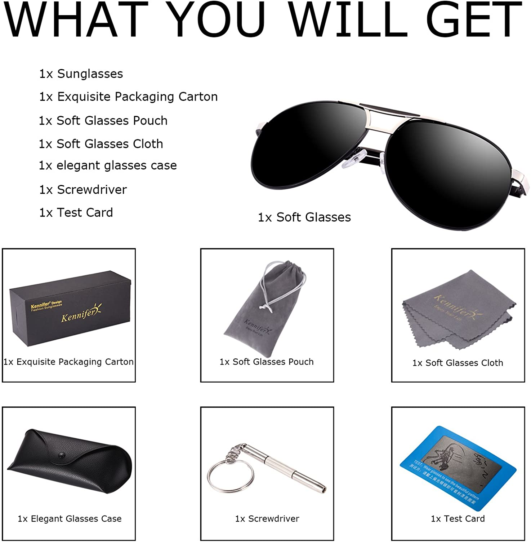 Herren Klassik Polarisierte Fahren Aviator Sonnenbrille Metallrahmen Ultra leicht Premium Voll Verspiegelte Polarisierte Pilotenbrille Sonnenbrille