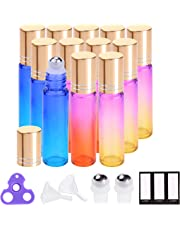 Essential Oil Roller Bottles 10 ml (Rainbow Glass, 12pack,24 Pieces Labels, Opener, 2 Extra Stainless Steel Balls, 2 Funnels by PrettyCare) Roller Balls for Essential Oils, Roll on Bottles