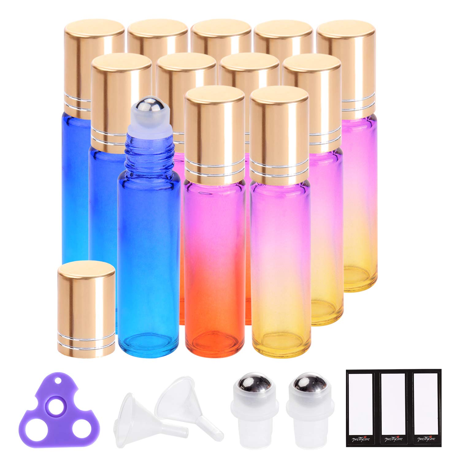 Essential Oil Roller Bottles 10ml by PrettyCare (12 Pack Rainbow Glass, Golden Cap, 24 Labels, 2 Extra Roller Balls, Opener, 2 Funnels) Roller Balls for Essential Oils, Roll on Bottles by PrettyCare
