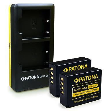 PATONA 2in1 Dual Cargador con micro USB + 2x Batería NP-W126 para Fuji X-T1 | X-E2 | X-M1 | X-E1 | X-Pro1 | X-A1 | X-T10 | X-A2 | FinePix HS50EXR | ...