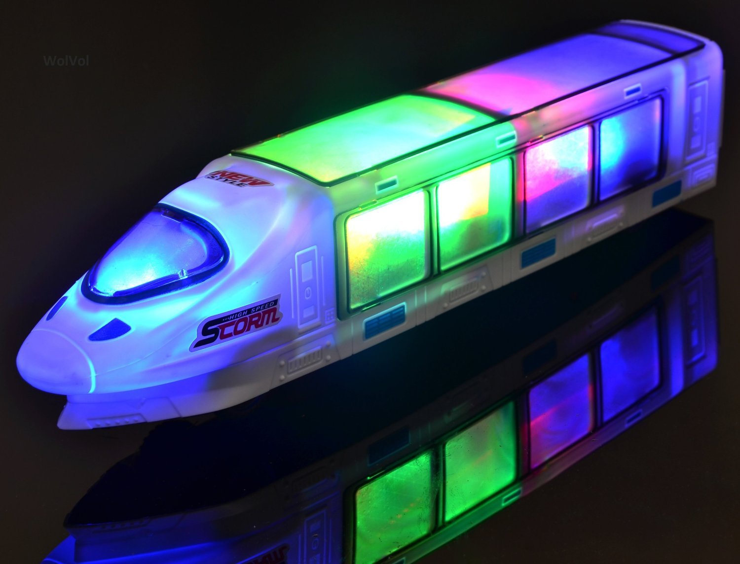 WolVol (New Version Beautiful 3D Lightning Electric Train Toy for Kids with Music, goes Around and Changes Directions on Contact