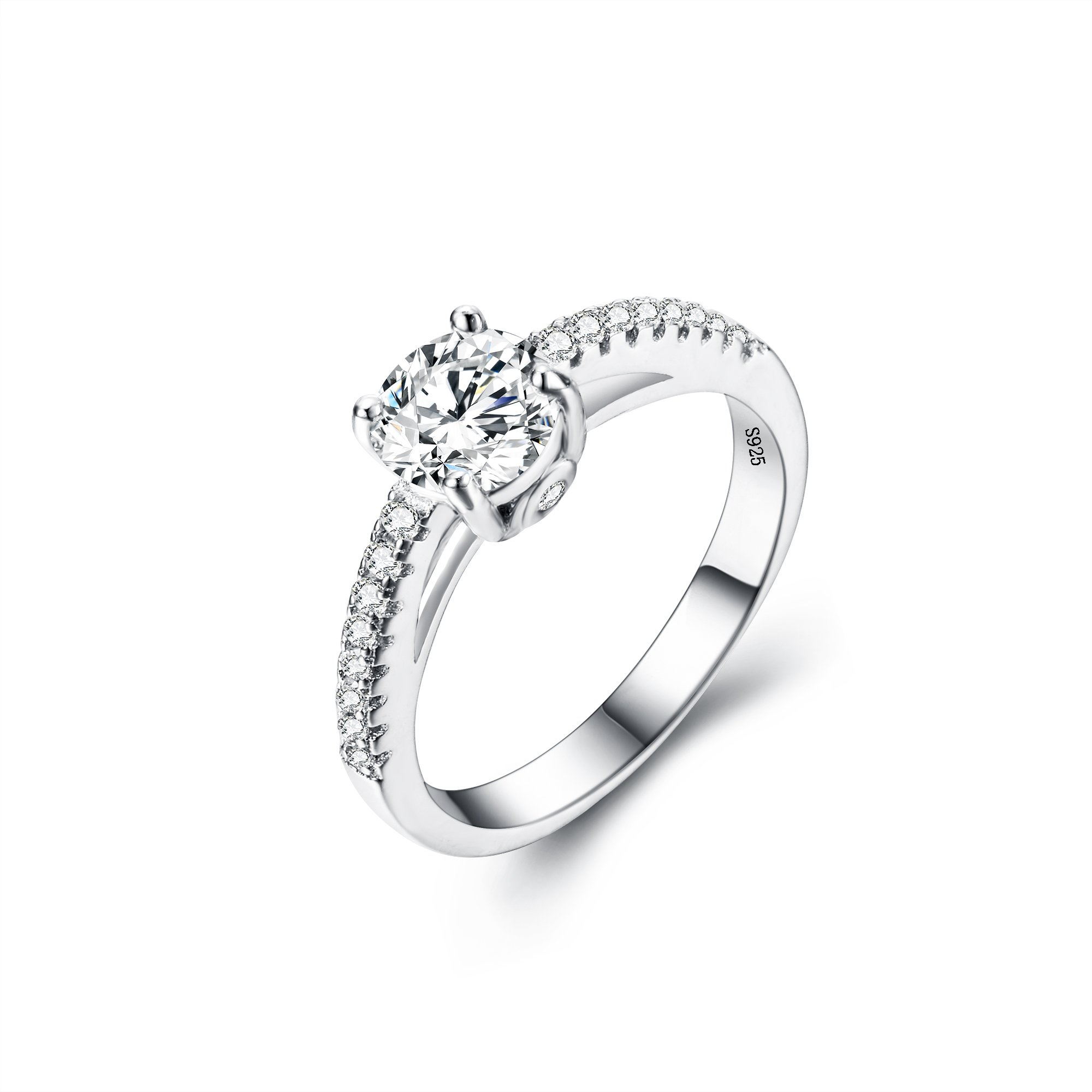 EVER FAITH 925 Sterling Silver Classical Round Cut .25ct Cubic Zirconia Engagement Ring Clear - Size 8