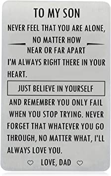 Amazon Com Gifts For Son From Dad To My Son Engraved Wallet Card Inserts With Inspirational Quotes Christmas Birthday Graduation Gift Ideas Office Products