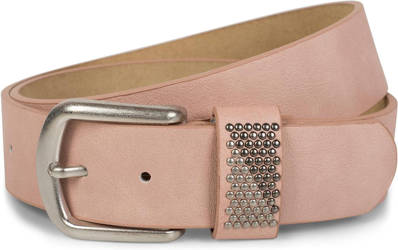 Damen Gürtel zweifarbig mit runden Nieten Vintage glitzer Nietengürtel kürzbar