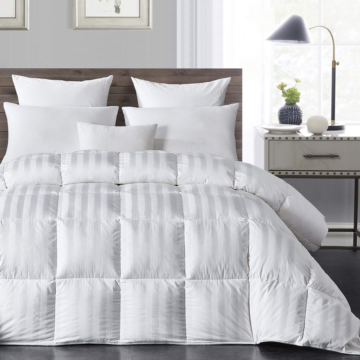 HOMBYS Luxurious Natural White Down Comforter King Size Feather All Season Duvet Insert White Classic Stripe Hypo-allergenic 100% Cotton Cover Droof with Corner Tabs(King,White Stripe)