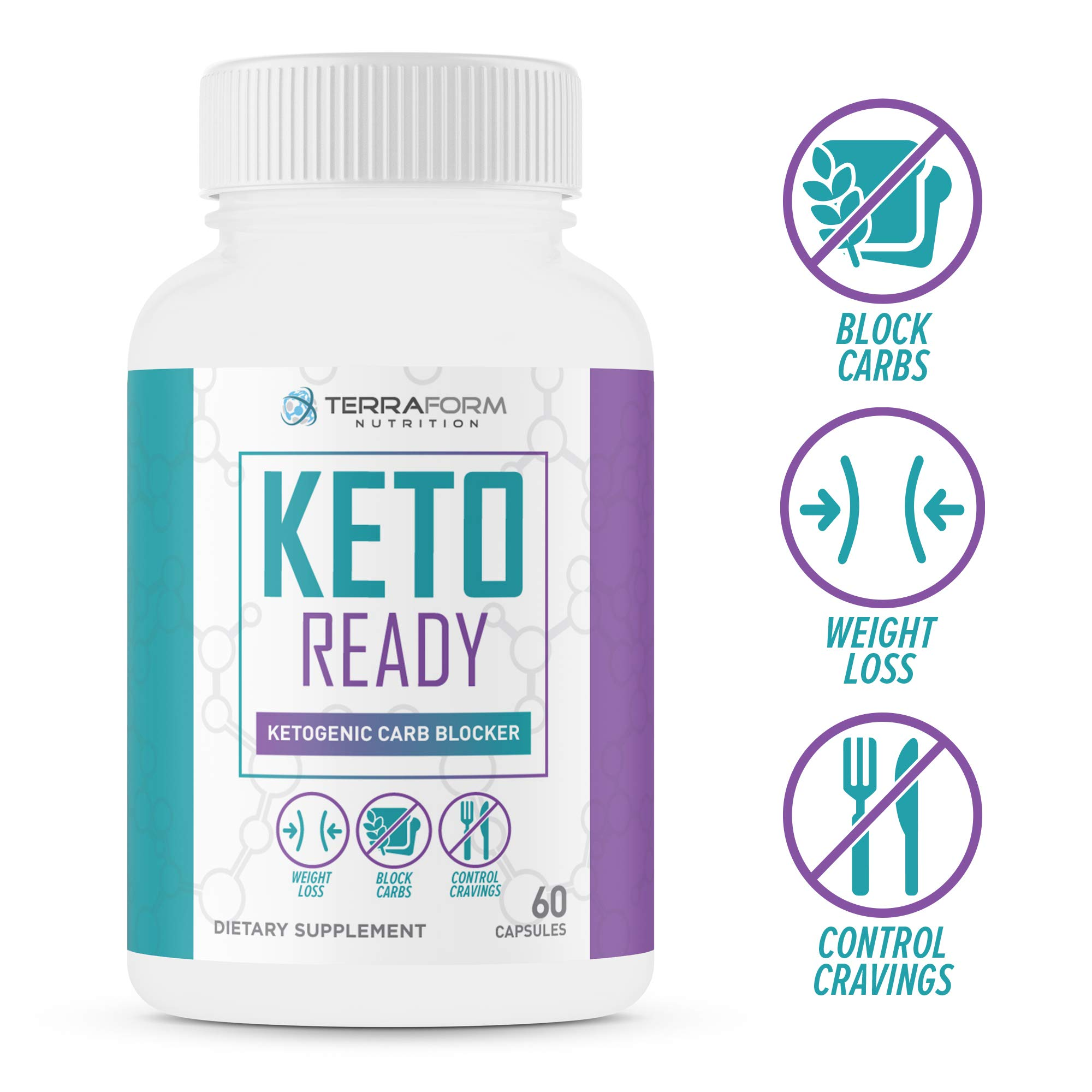 Keto Ready - Max Strength Keto Carb Blocker 1200mg - Burn Fat & Block Carb Absorption - Minimize Cheat Meals & Maintain Ketosis - White Kidney Bean Extract - for Men & Women - Made in USA - 60 Capsule by TerraForm Nutrition