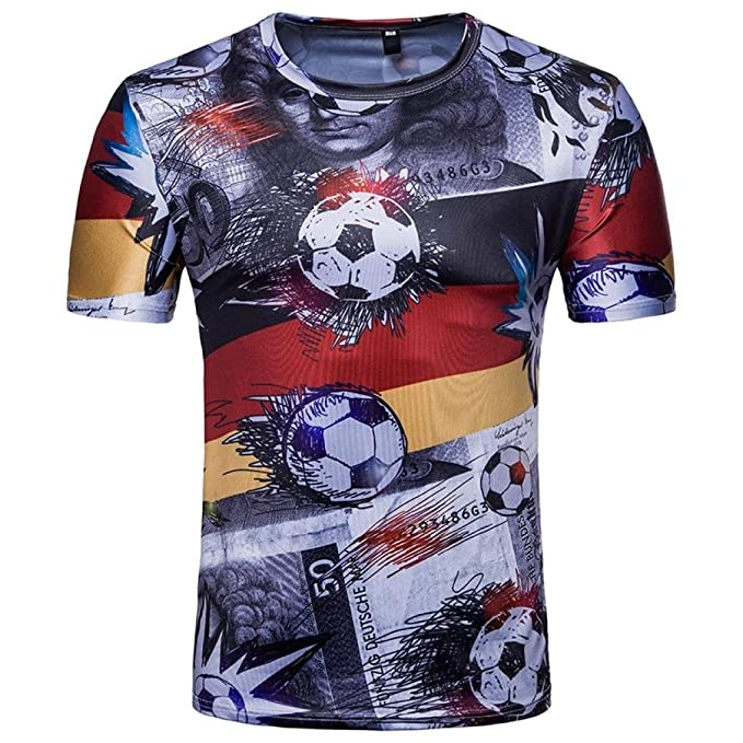 Cinnamou Camiseta para hombre Camiseta estampada para fútbol Camiseta manga corta para verano Copa del mundo