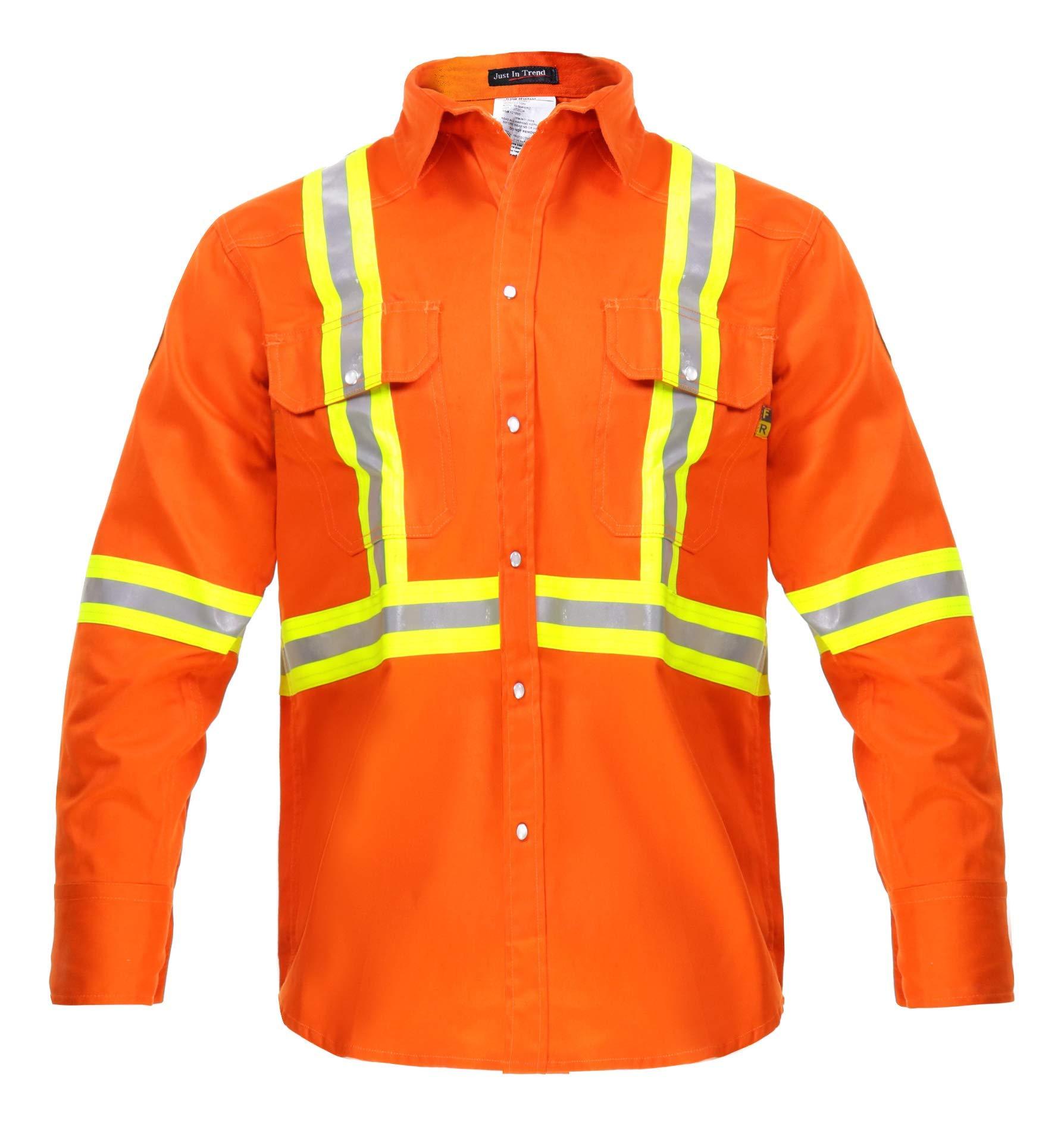 Flame Resistant FR High Visibility Hi Vis Shirt - 88% C/12% N - 7oz (2X-Large, Orange)