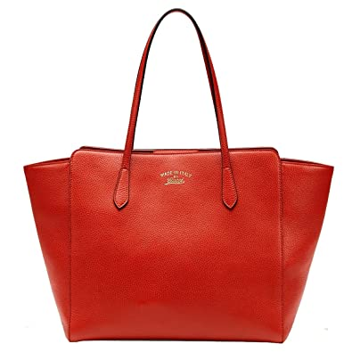 gucci tote. gucci swing orange red leather shoulder tote handbag 354397 0