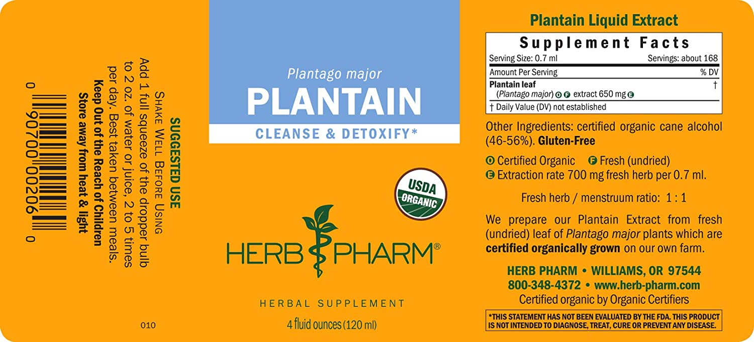 Herb Pharm Certified Organic Plantain Liquid Extract for Cleansing and Detoxification – 4 Ounce