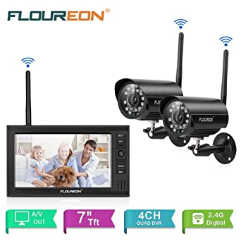 "FLOUREON Cámara de seguridad inalámbrica con monitor Digital Outdoor 2 CCTV Camáras 7"" LCD monitor"