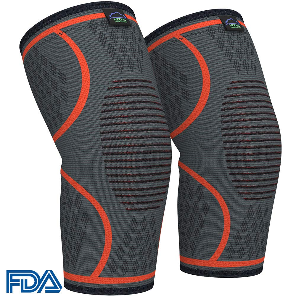 Modvel Compression Knee Sleeve (1 Pair) - Ultra Flexible, Comfortable Knee Brace for Men and Women, Great for All Athletics, Volleyball, ACL, Stabilizer for Arthritis and Knee Pain Relief, M (MV-111) by Modvel (Image #1)