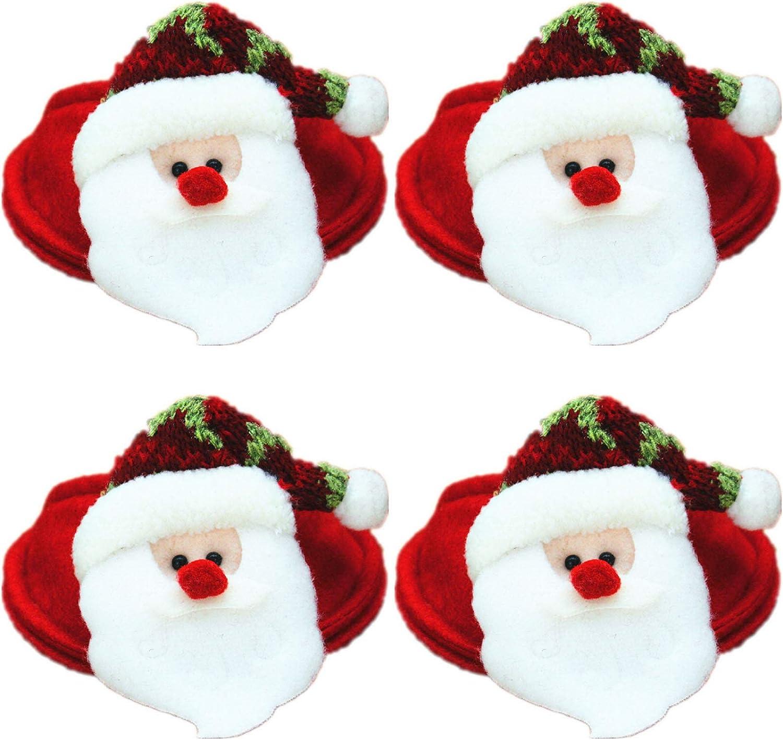 WT-DDJJK Decoración navideña, 4 unids/Set gnomo Rojo de Navidad Papá Noel Copa de Vino Alfombrilla de Vidrio Cubre XmasDecor, Black Friday Sales 2020