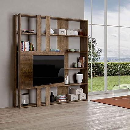 Itamoby, Librería y soporte para TV de pared de madera Kato M ...