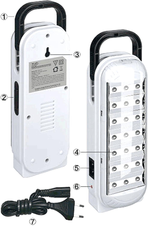 DP - Lámpara portatil LED recargable (21 ledes): Amazon.es ...