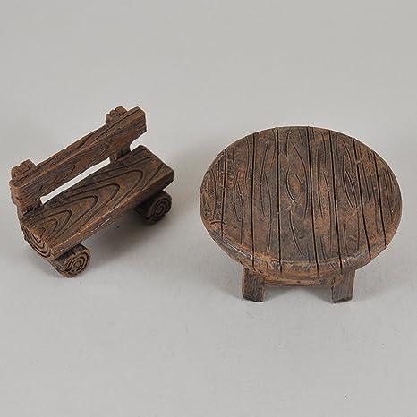 Fée Jardin Anglais Mini Banc En Bois Et Table De Jardin Miniature