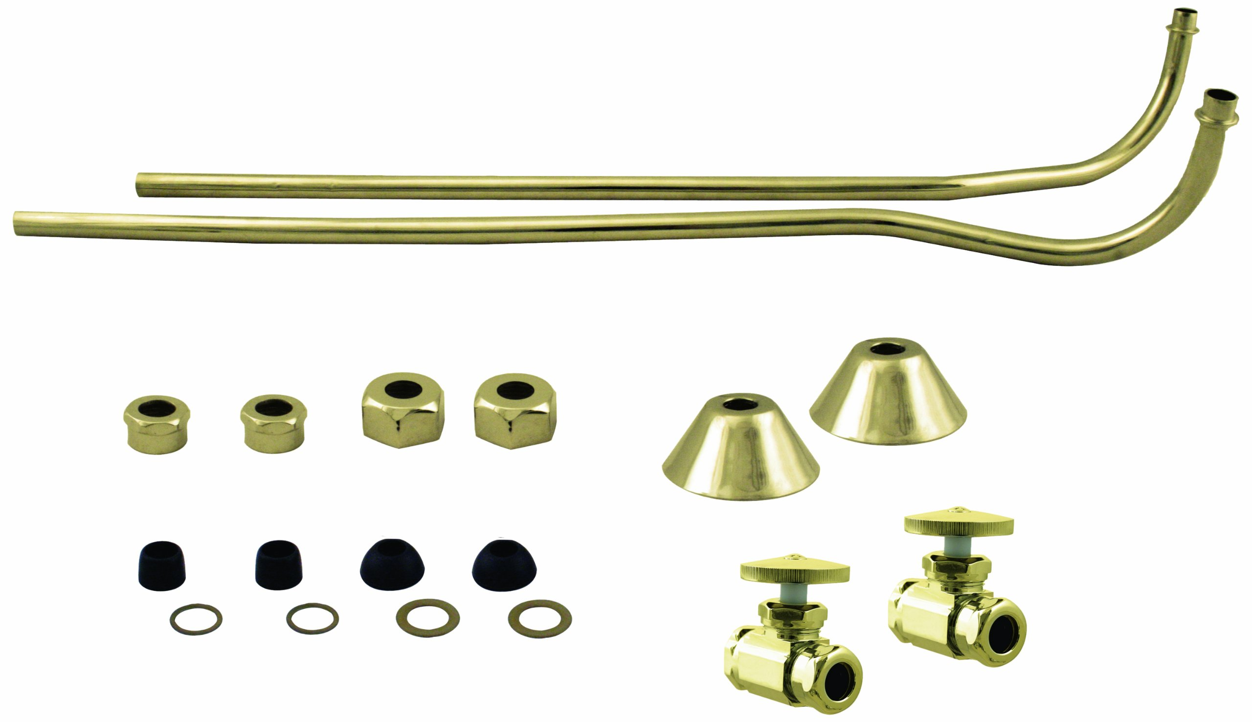 Westbrass Double Offset Bath Supply Lines with 1/2'' IPS Valves and Round Handles, Polished Brass, D136-108-01
