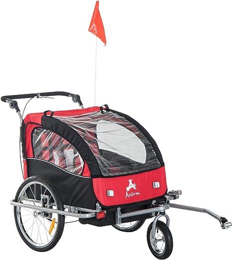 Remolque Infantil para Bicicleta 2 PLAZAS Rueda Giratoria 360° y ...