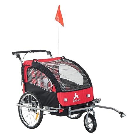 Remolque Infantil para Bicicleta 2 PLAZAS Rueda Giratoria 360° y Amortiguadores BARRA INCLUIDA Kit Footing ROJO