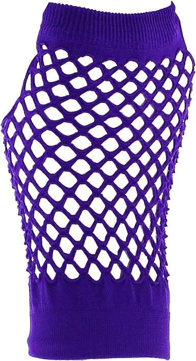 80/'s Punk Gloves Mesh Net Short Neon Punk Fancy Dress Accessory