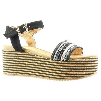 Angkorly Damen Schuhe Sandalen Mule - Plateauschuhe - Kork - Linien - Schmuck Keilabsatz High Heel 7 cm