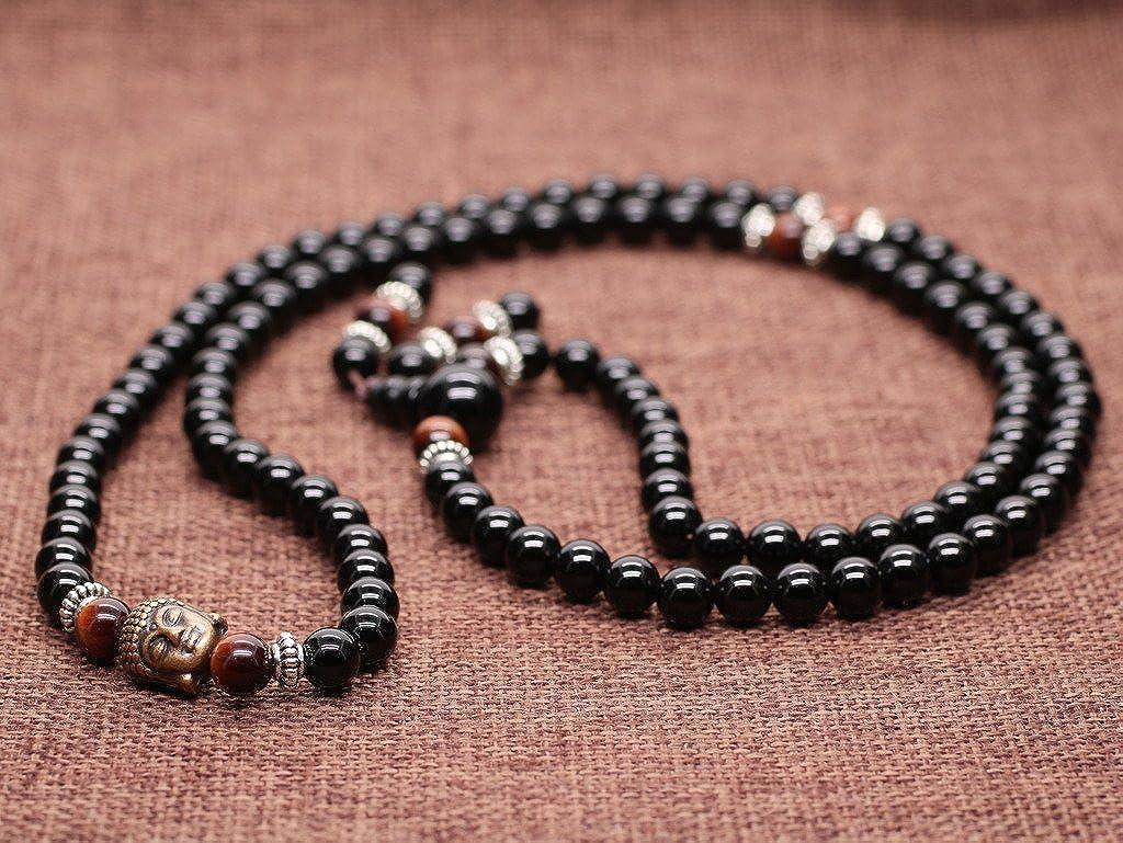 5875ebdbca82 COAI® Pulsera Collar de 108 Cuentas Mala Piedra Natural Ónice y Ojo de Tigre  Budista Ampliar imagen