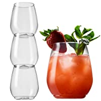 TOSSWARE - Shatterproof Stackable Red Wine and Cocktail Glass, 18 oz. BPA-Free Upscale REUSABLE/Recyclable Plastic Wine Cups, Set of 3