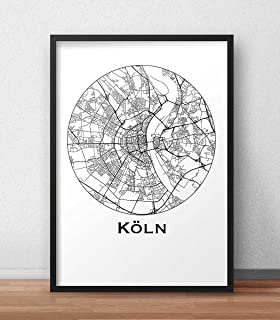 Plakat Köln Deutschland Minimalist Map   Poster, City Map, Dekoration,  Geschenk