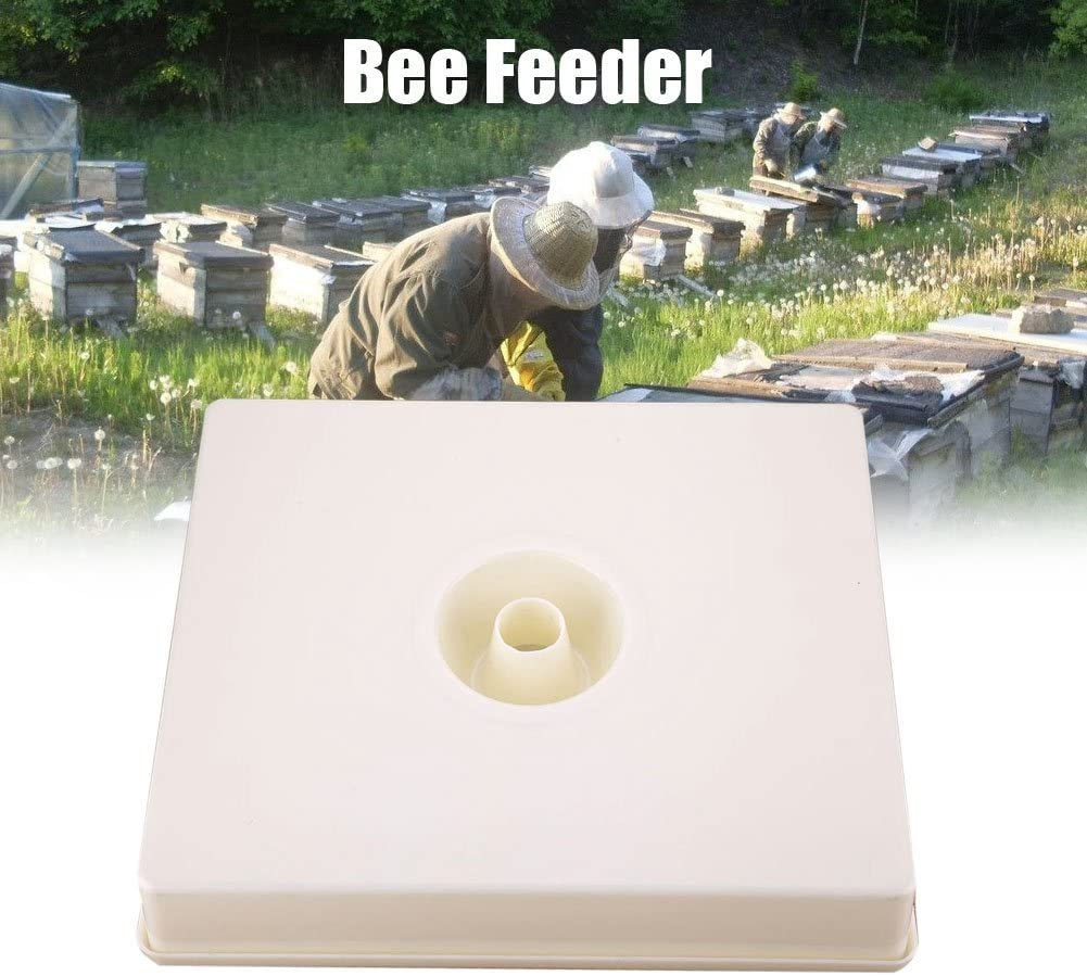 ViaGasaFamido 4L Capacity Plastic Bee Water Feeder Square Round Top Beehive Bee Drinking Equipment Water Feeding Beekeeping Supplies Water Dispenser Beehive Entrance Feeder Beekeeping Beekeeper Tool