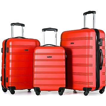 Maleta de equipaje Flieks® rígida, ruedas gemelas, con candado de cifras, equipaje de mano con ruedas dobles XL-L-M (set rojo): Amazon.es: Deportes y aire ...